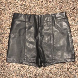 Urban outfitters Black leather shorts